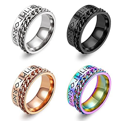 UBGICIG 4PCS Spinner Rings for Women Men Norse Viking Runes Ring Stainless Steel Rotatable Band Rings for Men Women Gold Silver Black Rainbow Color Fidget Ring Band Set