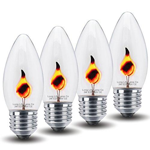 4 x 3w Flicker Flame Candle Light Bulb E27 Edison Screw