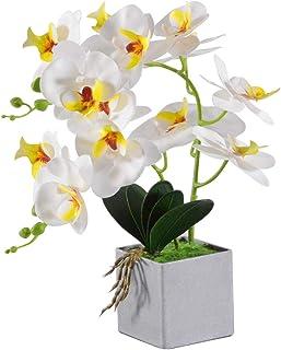 VIVILINEN Flores Artificiales Plásticos Flor de Phalaenopsis realistas Orquídea Mariposa Decoración Cálida para Hogar Dormitorio y Oficina (Blanco)