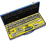 S&R Steckschlüsselsatz INDUSTRIE 1/2 Zoll 39-teilig mit LOCK-DRIVE Profil Knarrenkasten, Werkzeugkoffer gefüllt 1/2' Ratschenkasten Ratschenschlüsselset