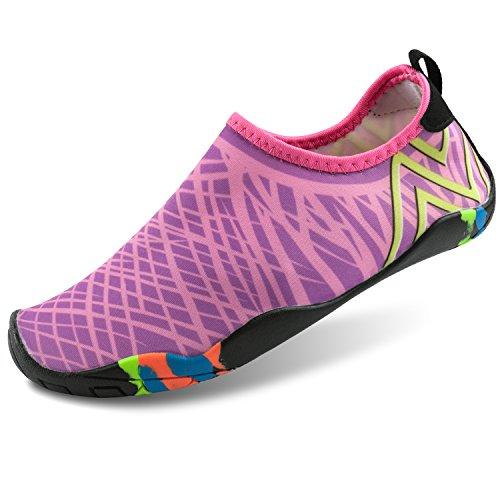 Leadfas Barefoot Aqua Water Shoes, Séchage Rapide Eau Peau Chaussures Unisexe Hommes Womens Lightweight Chaussettes d'eau pour Plage Piscine Swim Surf Exercice Slip sur Yoga Chaussures Peau Trainer