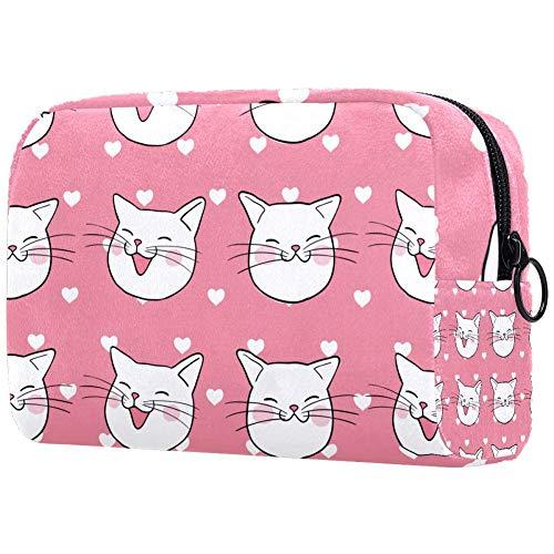 Head Cute CatSmall Trousse de maquillage pour sac à main Voyage Maquillage Trousse Mini Sac à cosmétiques pour femme