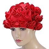 VGEBY1 Gorro de baño con Flores, Gorro de baño Vintage Gorro de baño Retro para Mujer(Rojo)