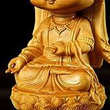 JIAChaoYi Guanyin Diosa de la Misericordia sentada en Lotus Pedestal Acabado Estatua Madera Quan Yin Escultura Pequeña decoración del hogar, 4.3'Alto