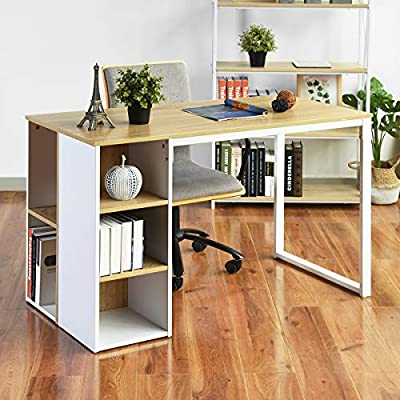 Office Computer Desk with Storage Large Home Work Desk with 5 Shelves White Kids Writing Desk Students Study Table PC Laptop Table Modern Wood Workstation Metal Legs