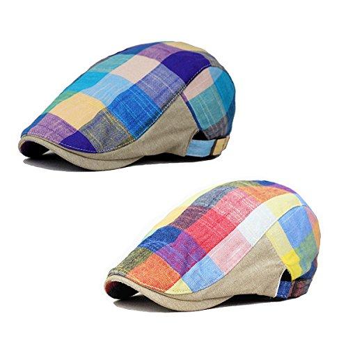 ZLSLZ 2 Pack Men's Plaid Cotton Flat Newsboy Ivy Cabbie Golf Gatsby Cap Hat Red Blue