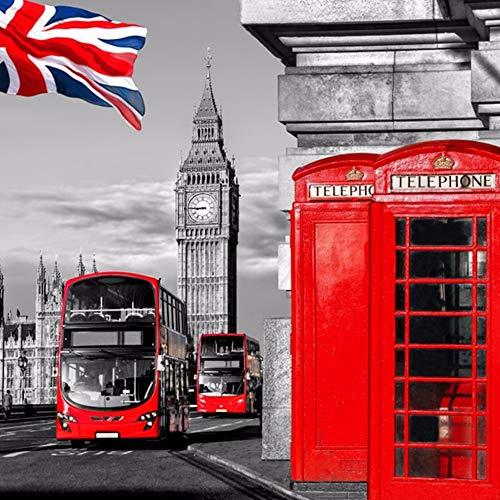 DIY 5D Pintura diamante por Kit London Clock Bus cabina telefónica roja Diamond Painting de perforación completos Rhinestone Picture Art Craft para decoración de la Pared del hogar -45x45cm E3302