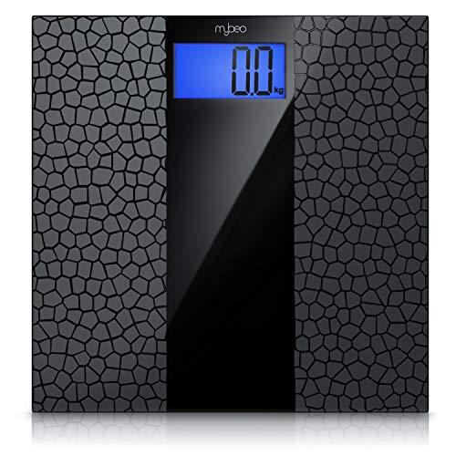 MyBeo - Báscula digital de baño con diseño fino (revestimiento antideslizante, gran pantalla LCD, máxima 180 kg, resolución de medición de 0,1 kg, encendido y apagado automático)