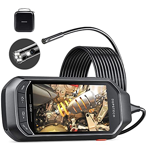 """Dual Lens Video Endoscope Camera with Lights, DEPSTECH 2.0MP HD Inspection Camera with 4.5"""" IPS Screen,7.9mm Waterproof Borescope,16.5FT Semi-Rigid Snake Cable with 3500mAh Battery, EVA Case,32GB Card"""