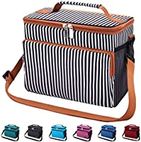 Leakproof Reusable Insulated Cooler Lunch Bag - Office Work Picnic Hiking Beach Lunch Box Organizer with Adjustable...