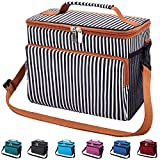 Leakproof Reusable Insulated Cooler Lunch Bag - Office Work School Picnic Hiking Beach Lunch Box Organizer with Adjustable Shoulder Strap for Women,Men and Kids-White Stripe