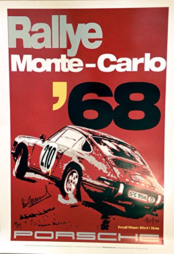 Nicolas Hunziker Porsche 911 - Vic Elford Monte Carlo Rally 1968 Victory - Poster Autographed by Driver Vic Elford and The Artist