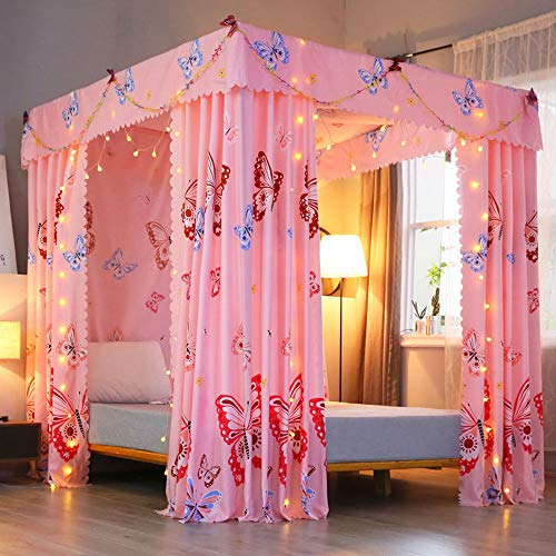 Mengersi Princess Four Corner Post Bed Curtain Canopy Mosquito Net for Girls Adults Kids (Queen, Pink Butterfly)