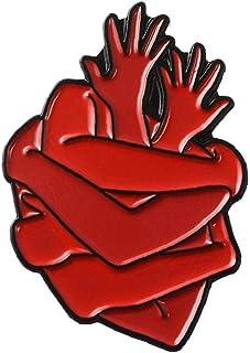 Aisoway Organo dello Smalto del Cuore Pin Brave Heart Hug Spille Bag Abbigliamento Lapel Pin Badge