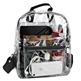 Water Resistant Clear Mini Backpacks for School, Beach - Stadium Approved Bag with Adjustable Straps (Black)