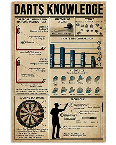 Vintage tin Sign Darts Knowledge Coffee Shop bar Club Metal Sign Wall Decorative Art Printing Poster 8x12 inches
