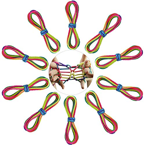 FT-SHOP Cuerda de Arco Iris, Juego de Dedos Cuerda, Juegos y Juguetes de Habilidad de Dedos para Niños como Regalo para Suministros de Fiestas 10 Piezas, Color de Arcoiris