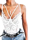 Women Lace Bodysuit Strappy Teddy Lingerie Eyelash Snap Crotch Outfit Mesh Lace Corset Tops White