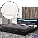 ArtLife LED Polsterbett Paris 180 × 200 cm mit Matratze und Lattenrost – Kunstleder Bezug & Holz Gestell – schwarz – modern & stabil   Doppelbett Bett