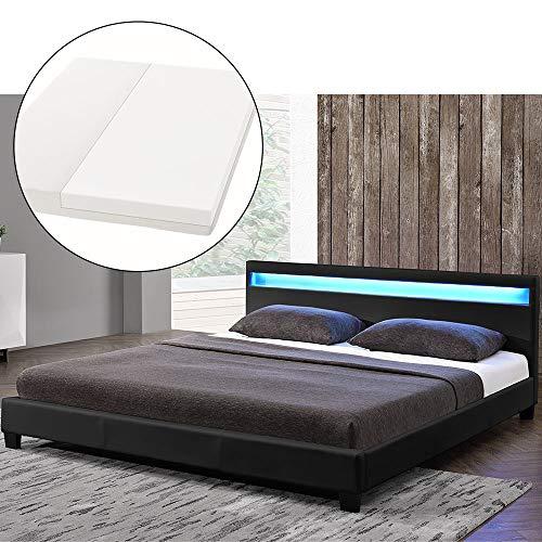 ArtLife LED Polsterbett Paris 140 × 200 cm mit Matratze und Lattenrost – Kunstleder Bezug & Holz Gestell – schwarz – modern & stabil - Einzelbett Jugendbett