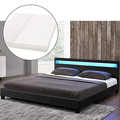 ArtLife LED Polsterbett Paris 180 × 200 cm mit Matratze und Lattenrost – Kunstleder Bezug & Holz Gestell – schwarz – modern & stabil - Doppelbett Bett