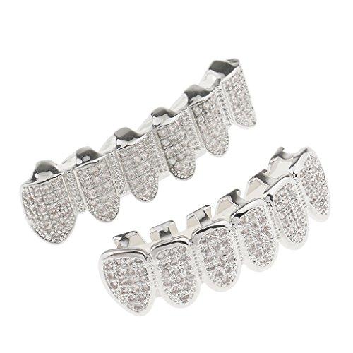 MagiDeal Zahnschmuck Kristall obere & untere Zahnreihe Zahn Schmuck - Silber