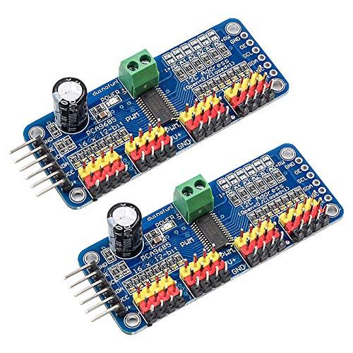 Electrely 2 Stücke PCA9685 16 Kanal 12 Bit PWM Servomotor Treiber, IIC Schnittstellen Servo Shield Modul für Arduino Robot und Raspberry Pi