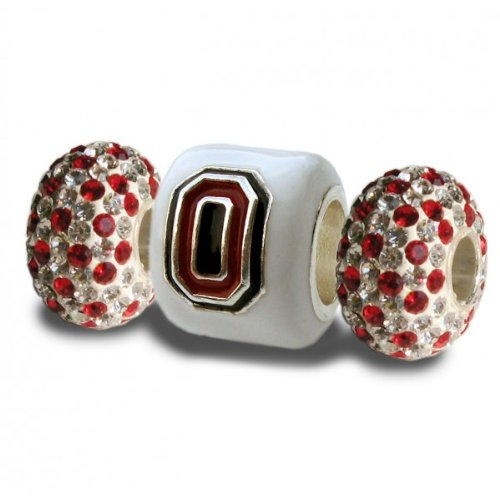 Ohio State Buckeyes 3-D Charms- Set of 3-1 White Block O + 2 White & Scarlet Crystal Beads