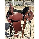 HIGHKAS Selle de Cheval Western Saddle Équipement d'équitation en Cuir Amortisseur de Selle Confort de Conduite