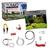 Tumbo Trolley 100 ft Dog Containment System - Solid Slider with Stretching Coil Cable with Anti-Shock Bungee (Safer and Less tangles) Aerial Dog Tie Out
