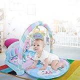 Greensen Spieldecke Krabbeldecke Mit Spielbogen, Baby Spielmatte Multifunktional Baby Gym mit Baby-Klavier Musik und Hängendes Spielzeug, Spielbogen Lernmatte für Baby Kognition Farberkennung