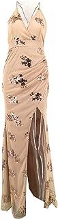 فستان بنمط بودي كون للنساء، ملابس فينتاج، فستان مزين بالترتر وانيق مكشوف الظهر لفصل الصيف، لون ذهبي