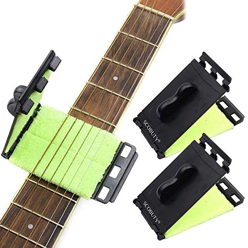 Limpiador De Cuerdas Para Guitarra,Guitarra eléctrica de Cuerdas y Diapasón Limpiador, Instrumentos Cuidado de mantenimiento para guitarra/bajo/mandolina/ukelele, 2pc