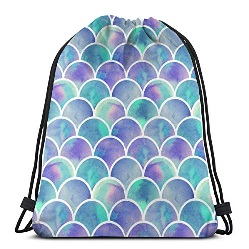 XCNGG Bolsa de Gimnasia Bolsa con cordón Bolsa de Viaje Bolsa de Deporte Mochila Escolar MochilaMermaid Tail Scales Fish Scale Pattern Unisex Drawstring Backpack Bag, Polyester Cinch Sack, Waterproof
