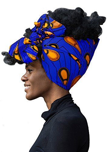 "African Head Wrap Extra Long 72""x22""Wax Print Head Scarf Tie for Women (hrbluepeacock)"