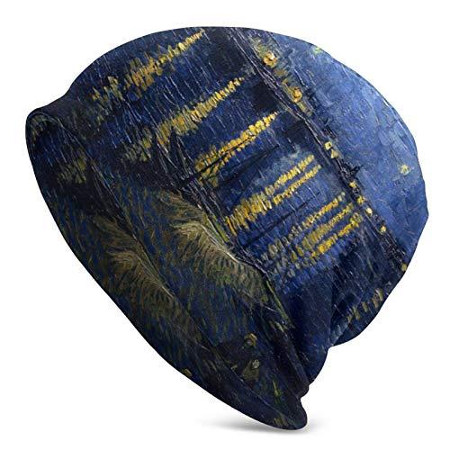 QUEMIN Baratos Noche Estrellada sobre el Ródano Vincent Van Gogh Gorra de Calavera con Palmeras Tropicales Gorro elástico Gorros Holgados Sombreros de Moda de Punto de Invierno para Mujeres Hombres
