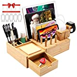 Darfoo Bamboo Charging Station Organizer for Multiple Devices with iWatch&Airpod Stand   Desktop Docking Station Organizer for iPhone, Android Phone, Storage Drawer(5 Charging Cables, No USB Charger)