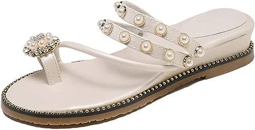 WANGXIAOLIN Doppelte Schultergurt-Sandalen Keilschuhe Perle Daumengürtel rutschfeste Plateauschuhe, Weiß Schwarz (Farbe   Weiß, Größe   38 EU)
