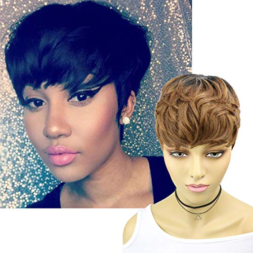 VRZ Ombre Short Wavy Human Hair Pixie Cut Wigs for Black Women Blonde Pixie Wigs Short Layered Cut Wigs with Bowl Bangs Brazilian Straight Hair Wigs Color 1B/33#