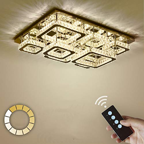 ZDHG Led-plafondlamp, kristal, 260 W, dimbaar, rechthoekige plafondlamp, creatieve spaarlamp voor woonkamer, slaapkamer, eetkamer, energieklasse A