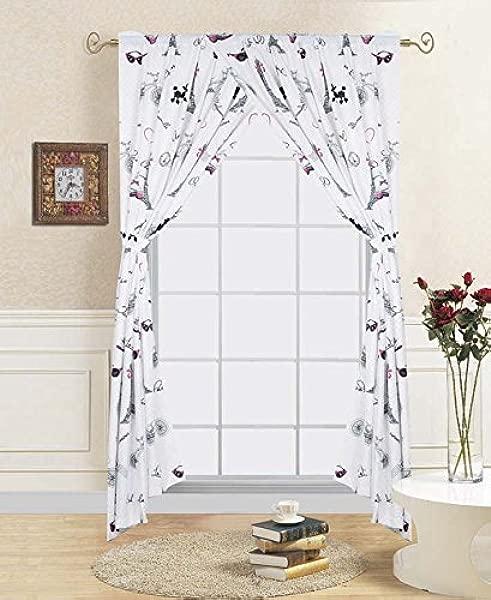 Goldenlinens White Black Pink Paris Design Printed Kids 4 Pieces Rod Pocket Window Curtains Drape Panels Treatment Set With Tie Back Paris Curtain