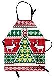ABAKUHAUS Navidad Delantal de Cocina, Reno Navidad Nórdica Árbol y Copos de Nieve Composición...