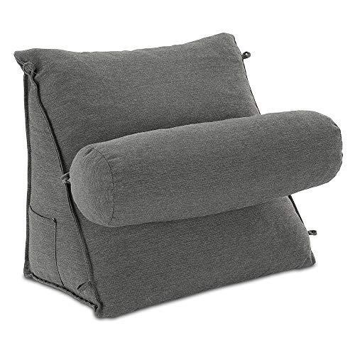 Rückenkissen mit Abnehmbarer Nackenrolle und Seitentasche Rückenstützkissen mit Nackenkissen Bezug waschbar anthrazit
