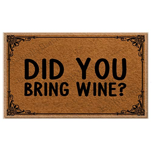 Funny doormats Did You Bring Wine Christmas Doormat,Family Friend Yard Low-Profile Floor Mat Switch Mat for Indoor 18x30 inches-Emilyhome