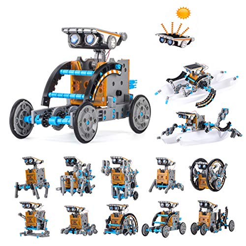 HahaGo Solar Robot Kit STEM Toys 12 in 1 Educational Building Toy DIY Science Experiment Kits Coding Robots Engineering 190 Pieces Set Powered by The Sun for Kids Children Boys Girls Gifts