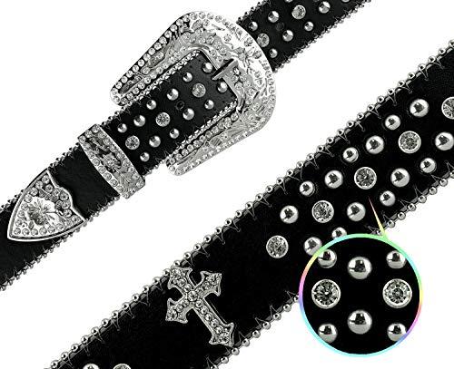 Western Crystal Bling Studded Design Leather Belt 2