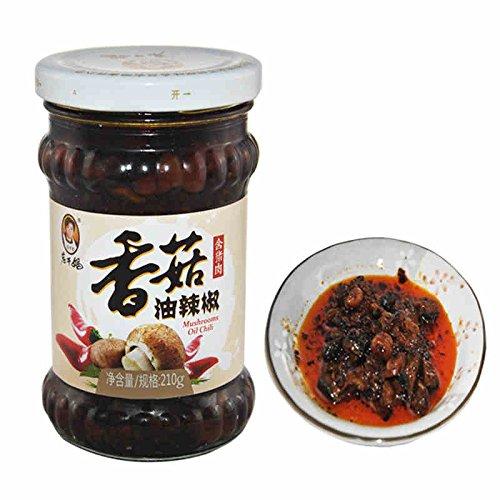 Lao Gan Ma Chilli Sauce, XiangGuYouLaJiao 210g (Chilli Mushroom Sauce, Pack of 1)