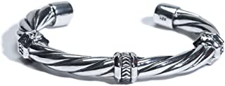 Mezmic1829 Art Nouveau Collection 925 Sterling Silver Jewelry Twisted Cable Cuff Bracelet for Men Inside Circumference S 6.7 inches M 7.3 inches