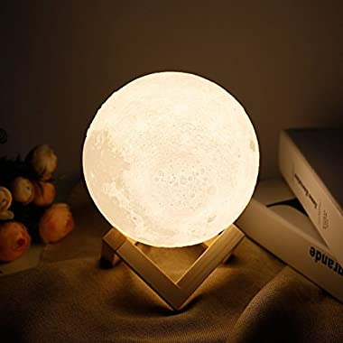 Moon lamp - Lampwin 5.9 Inch USB Rechargeable Dimmable LED 3D Full Moon Light Lantern, Touch Switch Warm / Cool White Crescent Enchanting Moon Night Light for Baby Nursery Kids Bedroom Home Decor Gift