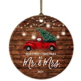 JUOOE 2021 Our First Christmas Just Married Truck Christmas Tree Ornament Our First Christmas as mr. and mrs. Gift for Newlywed Couple 2021 (2020 Red Car Mr Mrs)